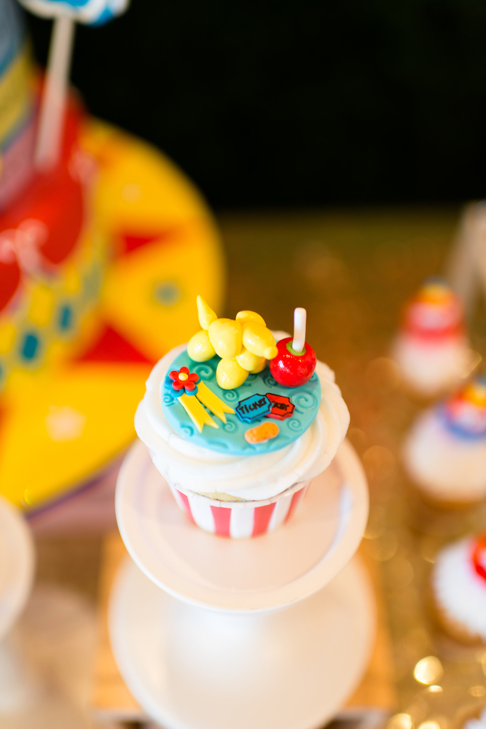 Cupcake from a Showtime Circus Birthday Party on Kara's Party Ideas | KarasPartyIdeas.com (16)