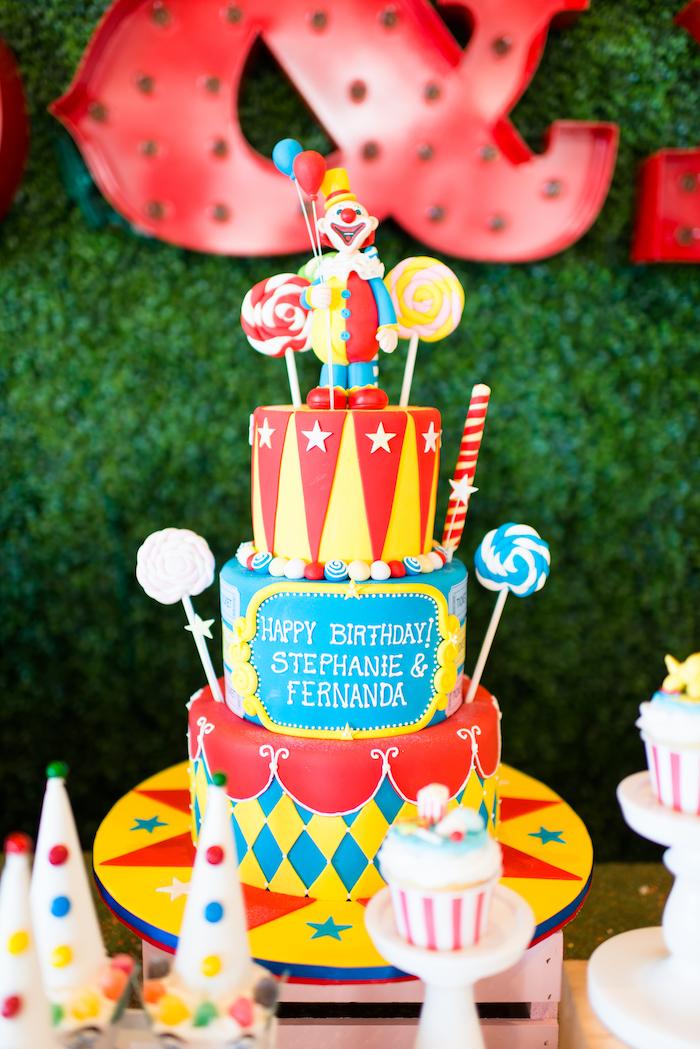 Circus cake from a Showtime Circus Birthday Party on Kara's Party Ideas | KarasPartyIdeas.com (15)