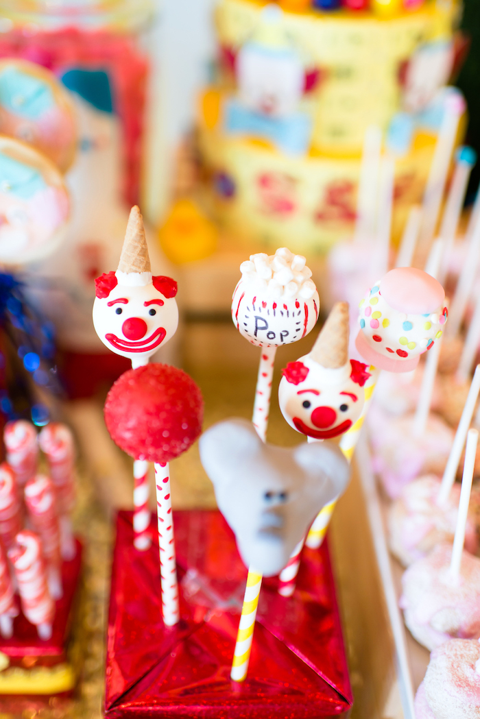 Circus cake pops from a Showtime Circus Birthday Party on Kara's Party Ideas | KarasPartyIdeas.com (14)