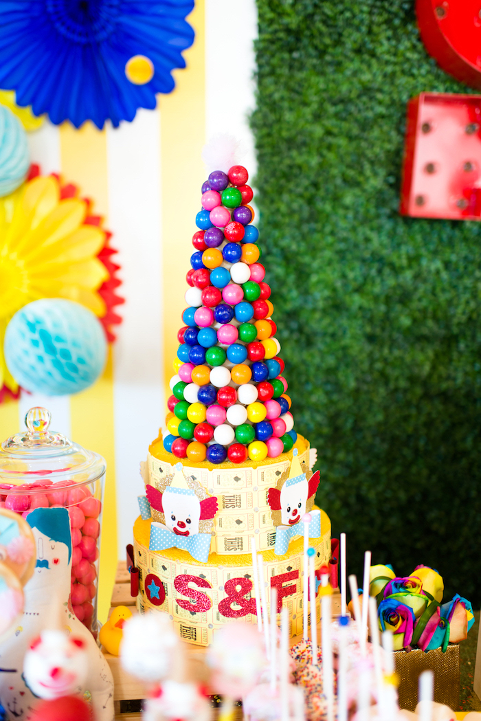 Gumball and ticket tower from a Showtime Circus Birthday Party on Kara's Party Ideas | KarasPartyIdeas.com (13)