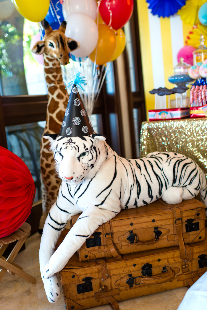Plush tiger from a Showtime Circus Birthday Party on Kara's Party Ideas | KarasPartyIdeas.com (11)