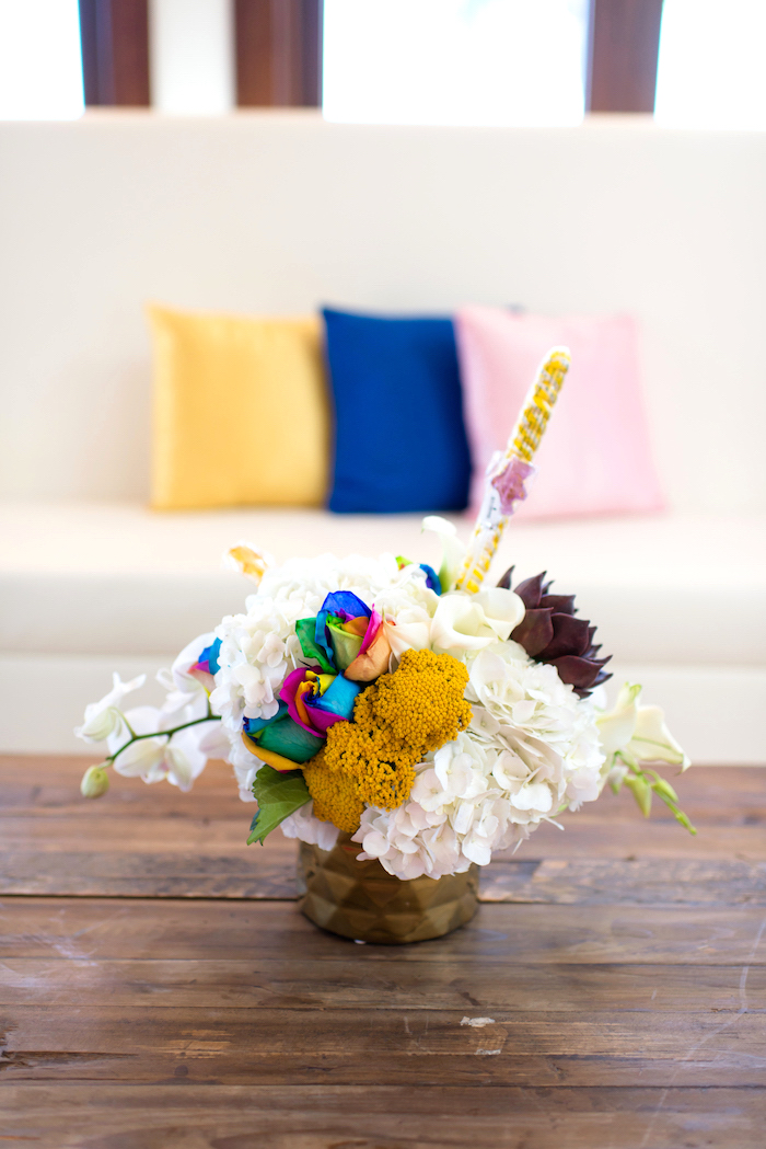 Floral arrangement from a Showtime Circus Birthday Party on Kara's Party Ideas | KarasPartyIdeas.com (27)