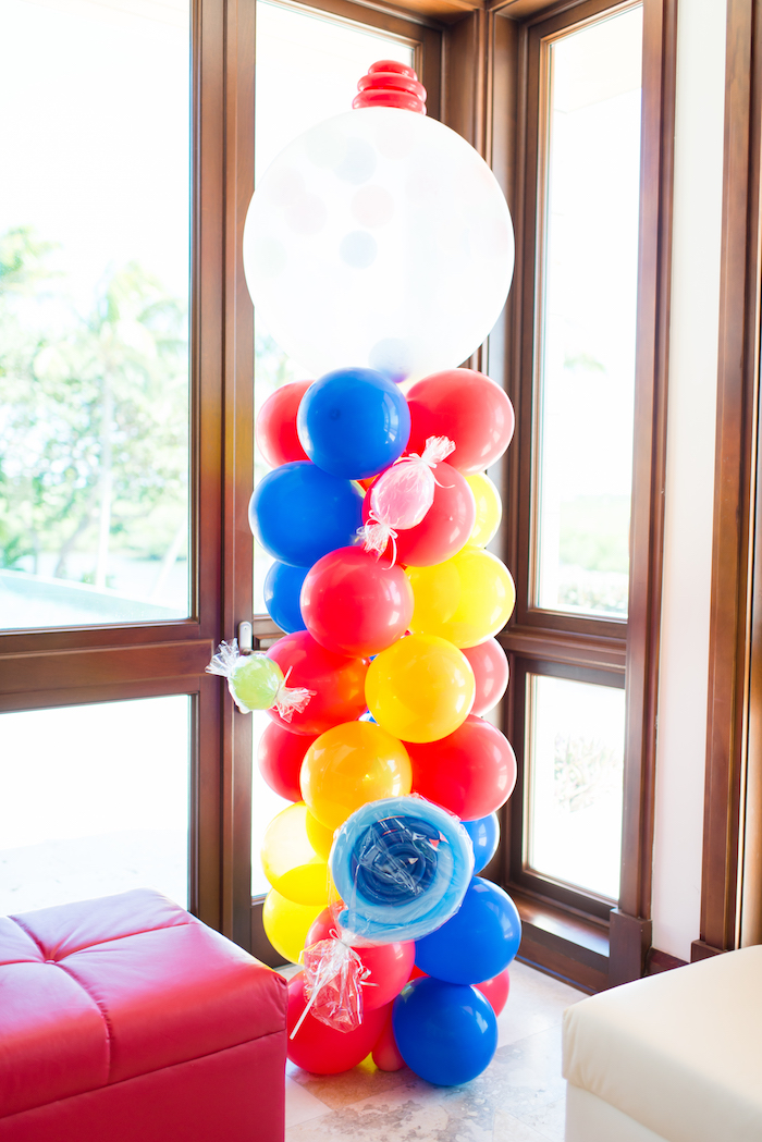 Balloon pole from a Showtime Circus Birthday Party on Kara's Party Ideas | KarasPartyIdeas.com (25)