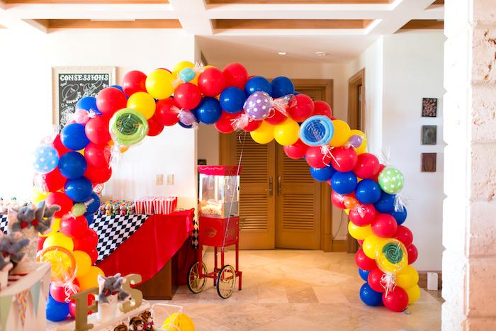 Balloon arch from a Showtime Circus Birthday Party on Kara's Party Ideas | KarasPartyIdeas.com (24)