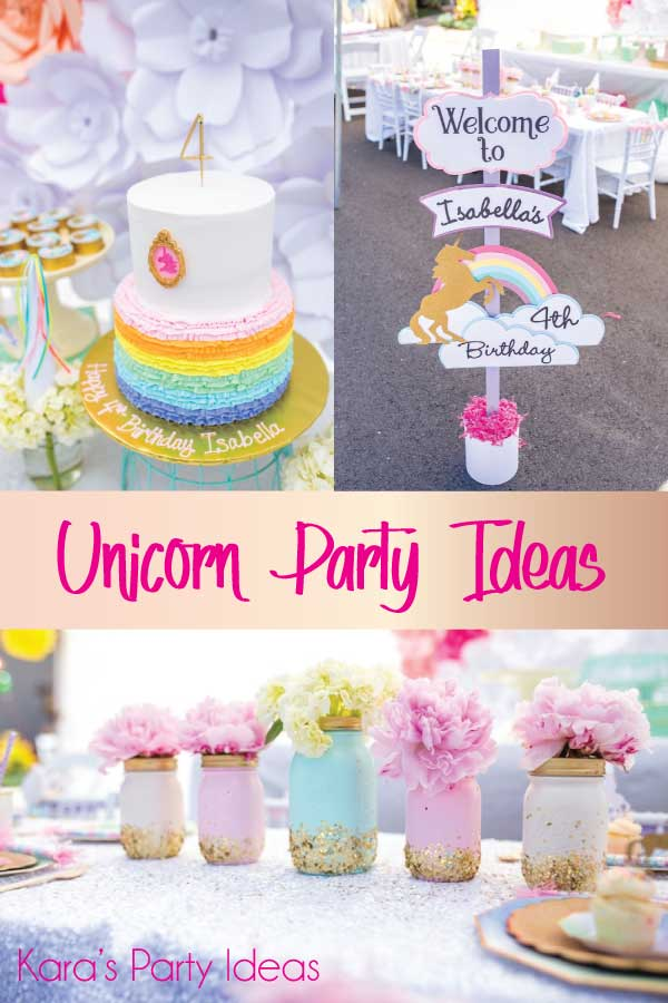 Picture collage with unicorn rainbow cake, unicorn party sign, and floral jars | Kara's Party Ideas