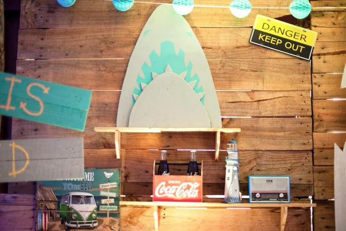Danger zone, shark backdrop from a Surfing Birthday Party on Kara's Party Ideas | KarasPartyIdeas.com (27)