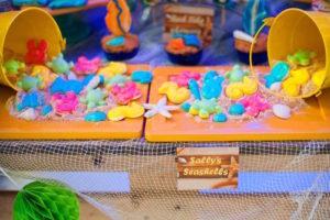 Gummy sea creatures from a Surfing Birthday Party on Kara's Party Ideas | KarasPartyIdeas.com (18)