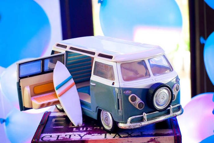 Vintage VW van from a Surfing Birthday Party on Kara's Party Ideas | KarasPartyIdeas.com (36)