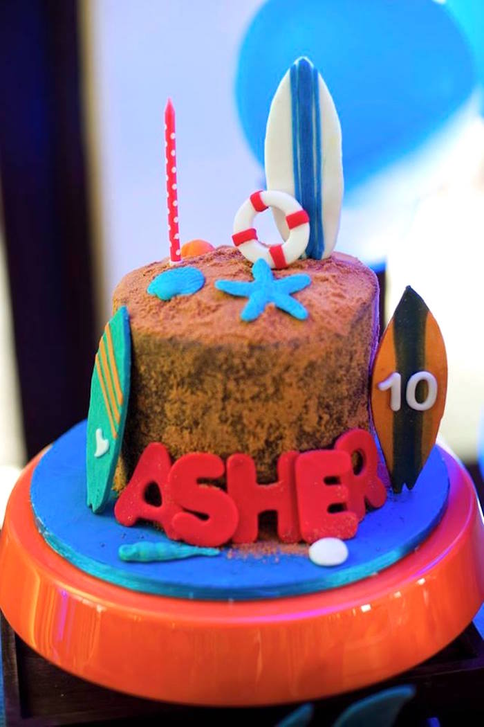 Cake from a Surfing Birthday Party on Kara's Party Ideas | KarasPartyIdeas.com (17)