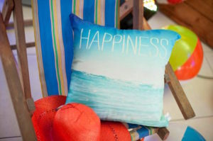 'Happiness' wave pillow from a Surfing Birthday Party on Kara's Party Ideas | KarasPartyIdeas.com (16)