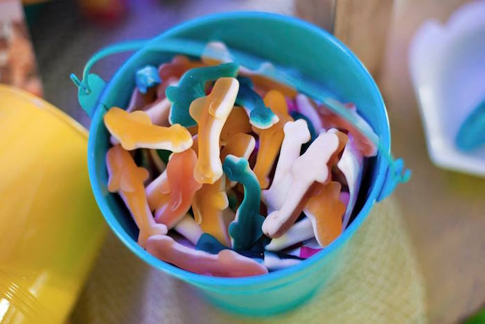 Gummy sharks in a beach pail from a Surfing Birthday Party on Kara's Party Ideas | KarasPartyIdeas.com (15)