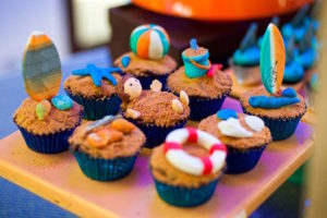 Beach cupcakes from a Surfing Birthday Party on Kara's Party Ideas | KarasPartyIdeas.com (14)