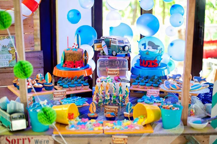 Sweet table from a Surfing Birthday Party on Kara's Party Ideas | KarasPartyIdeas.com (12)