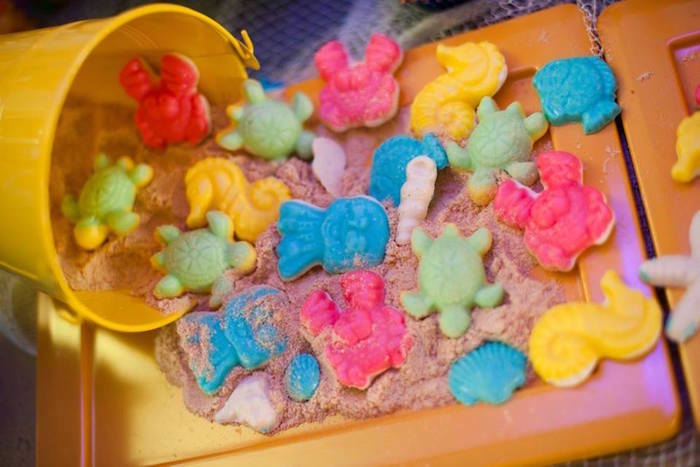 Gummy sea creatures on brown sugar from a Surfing Birthday Party on Kara's Party Ideas | KarasPartyIdeas.com (11)