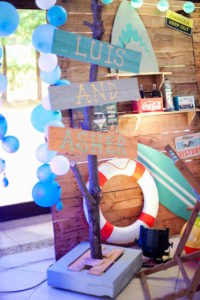Driftwood sign from a Surfing Birthday Party on Kara's Party Ideas | KarasPartyIdeas.com (10)