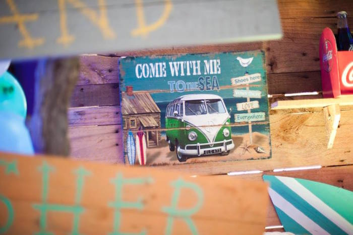 Wooden VW van + beach sign from a Surfing Birthday Party on Kara's Party Ideas | KarasPartyIdeas.com (8)