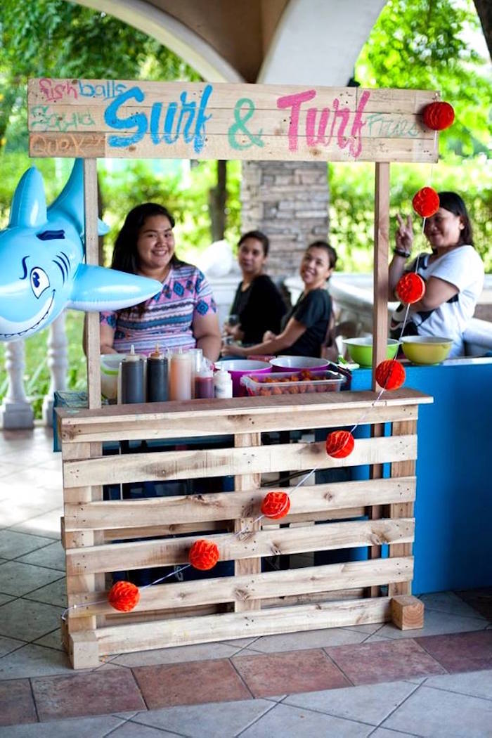 Surf & Turf Food Stand from a Surfing Birthday Party on Kara's Party Ideas | KarasPartyIdeas.com (6)
