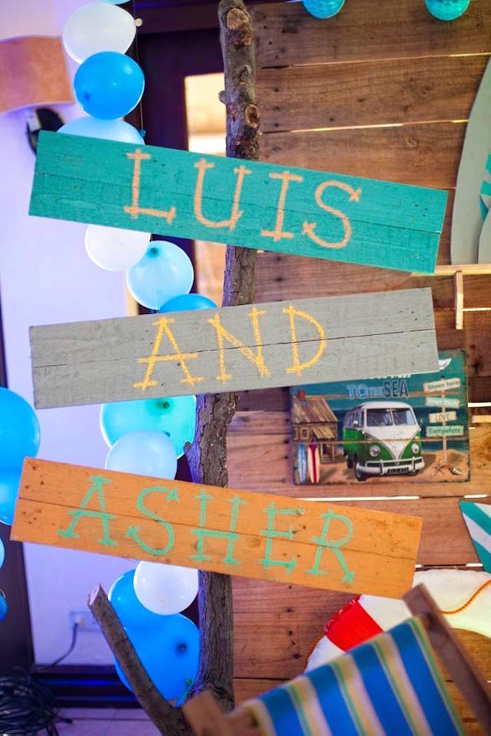 Painted driftwood sign from a Surfing Birthday Party on Kara's Party Ideas | KarasPartyIdeas.com (34)