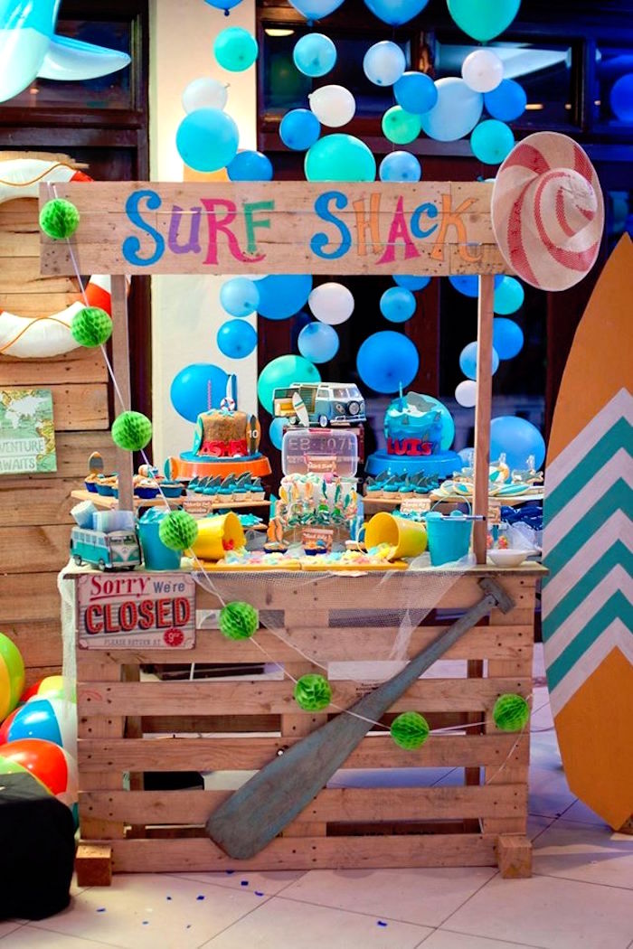 Surf Shack Dessert Stand from a Surfing Birthday Party on Kara's Party Ideas | KarasPartyIdeas.com (31)
