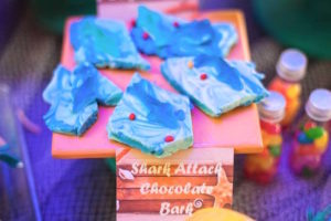 Shark attack chocolate bark from a Surfing Birthday Party on Kara's Party Ideas | KarasPartyIdeas.com (30)