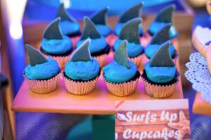 Shark fin cupcakes from a Surfing Birthday Party on Kara's Party Ideas | KarasPartyIdeas.com (28)