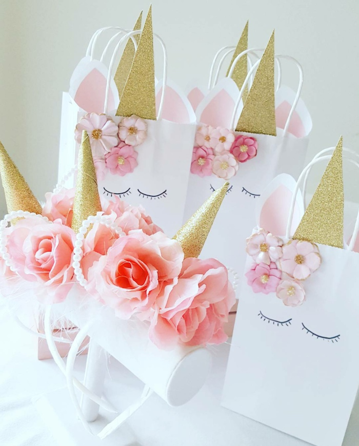 Unicorn Horn Headbands And Gift Bags From A Sweet Birthday Party On Kara S Ideas