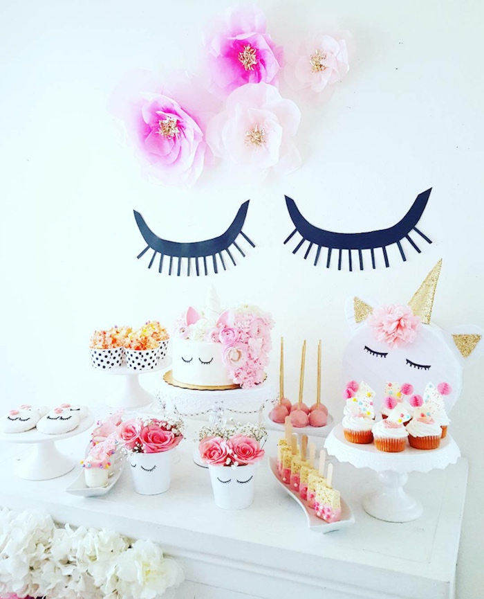Sleepy Unicorn Dessert Table from a Sweet Unicorn Birthday Party on Kara's Party Ideas | KarasPartyIdeas.com (11)