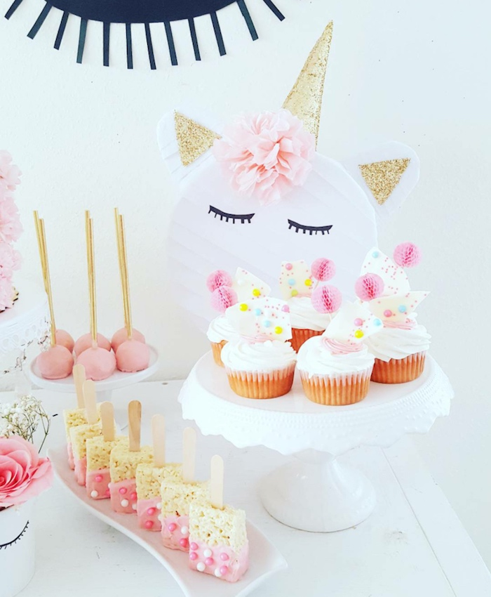 Cupcakes, rice crispy treats and cake pops from a Sweet Unicorn Birthday Party on Kara's Party Ideas | KarasPartyIdeas.com (10)