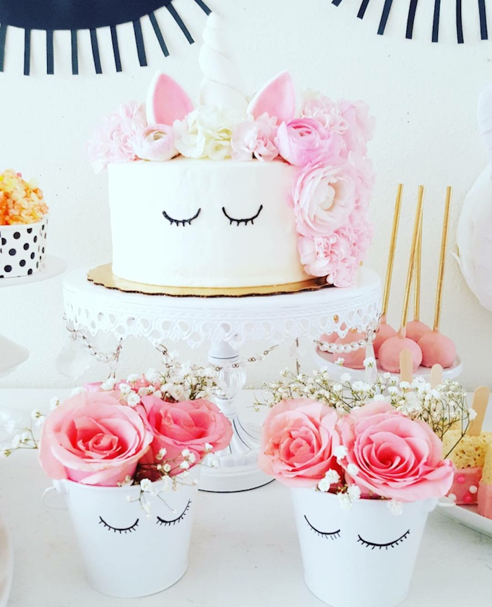 Unicorn Cake And Floral Arrangements From A Sweet Birthday Party On Karas Ideas