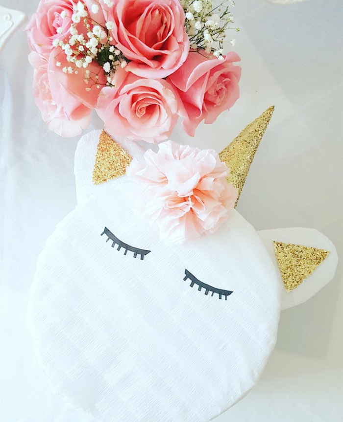 Unicorn pinata from a Sweet Unicorn Birthday Party on Kara's Party Ideas | KarasPartyIdeas.com (5)