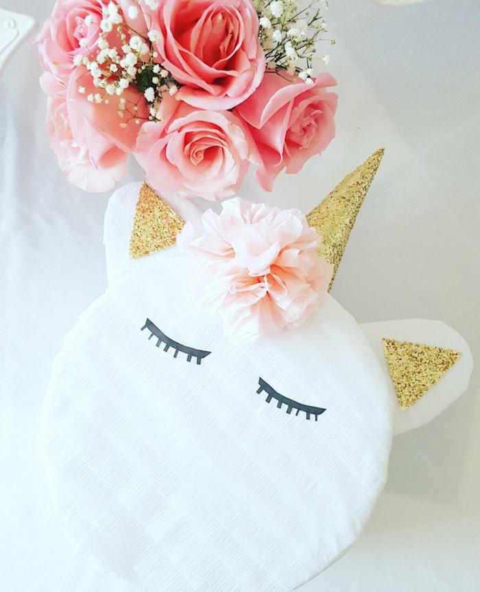 Unicorn pinata from a Sweet Unicorn Birthday Party on Kara's Party Ideas | KarasPartyIdeas.com (5)