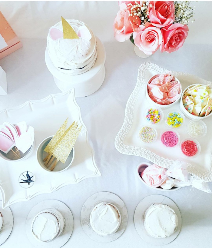 Cake toppings and supplies from a Sweet Unicorn Party - Cake Decorating Activity on Kara's Party Ideas | KarasPartyIdeas.com (7)