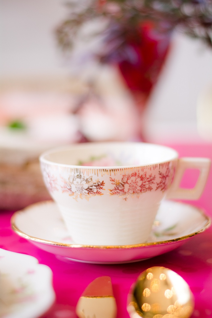 Tea cup and saucer from a Tea & Toast Mother's Day Party on Kara's Party Ideas | KarasPartyIdeas.com (21)