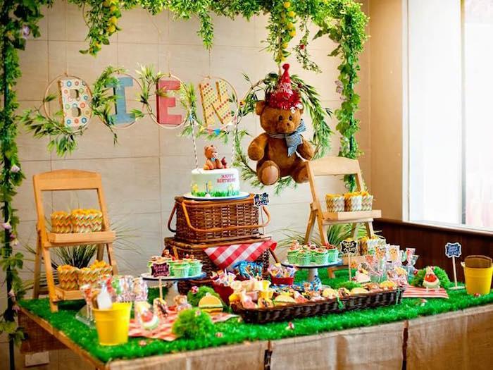 Dessert tablescape from a Teddy Bear Picnic Birthday Party on Kara's Party Ideas | KarasPartyIdeas.com (9)