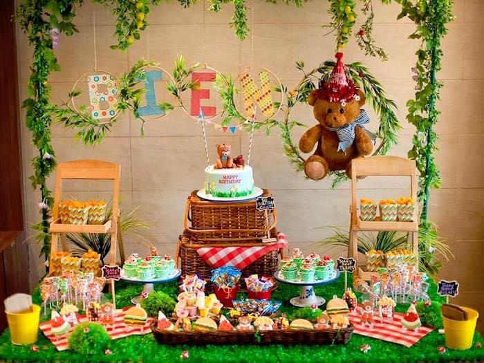 Dessert table from a Teddy Bear Picnic Birthday Party on Kara's Party Ideas | KarasPartyIdeas.com (7)
