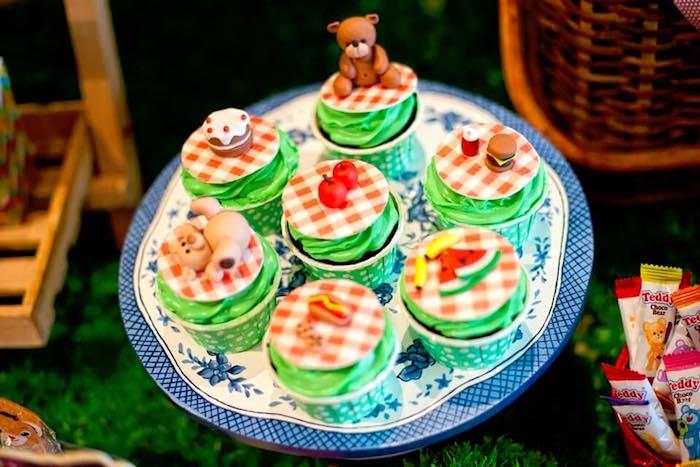 Picnic cupcakes from a Teddy Bear Picnic Birthday Party on Kara's Party Ideas | KarasPartyIdeas.com (5)
