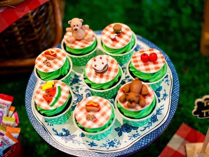 Cupcakes from a Teddy Bear Picnic Birthday Party on Kara's Party Ideas | KarasPartyIdeas.com (21)