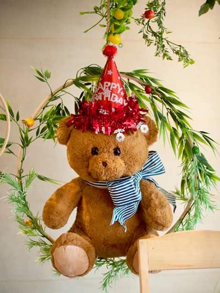 Hanging teddy bear decoration from a Teddy Bear Picnic Birthday Party on Kara's Party Ideas | KarasPartyIdeas.com (15)