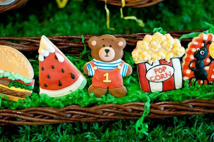 Sugar cookies from a Teddy Bear Picnic Birthday Party on Kara's Party Ideas | KarasPartyIdeas.com (13)