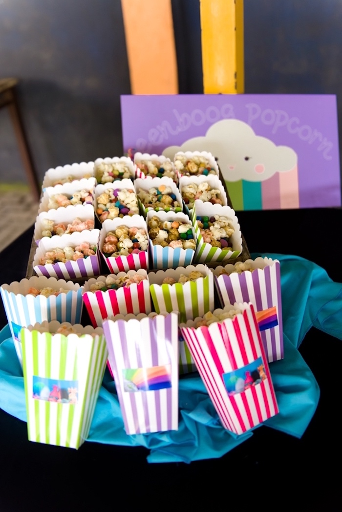 Striped popcorn boxes from a Trolls Birthday Party on Kara's Party Ideas | KarasPartyIdeas.com (10)
