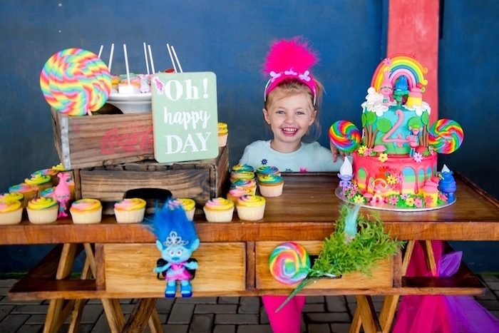 Cake table from a Trolls Birthday Party on Kara's Party Ideas | KarasPartyIdeas.com (8)