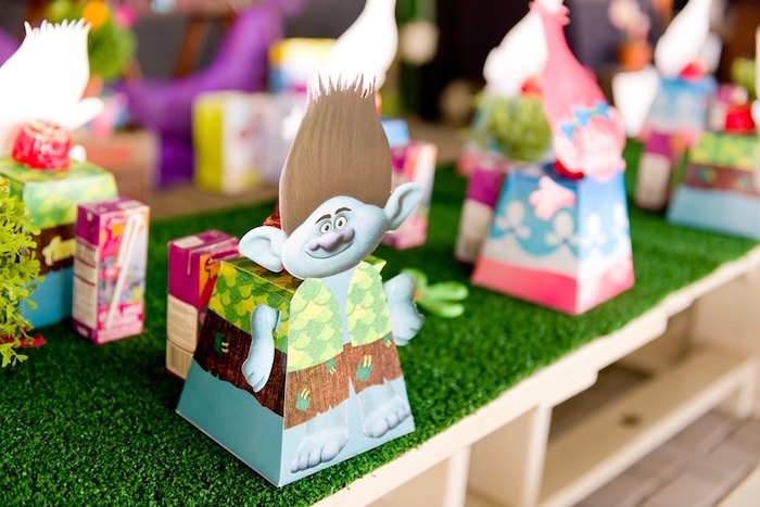 Character favor boxes from a Trolls Birthday Party on Kara's Party Ideas | KarasPartyIdeas.com (7)