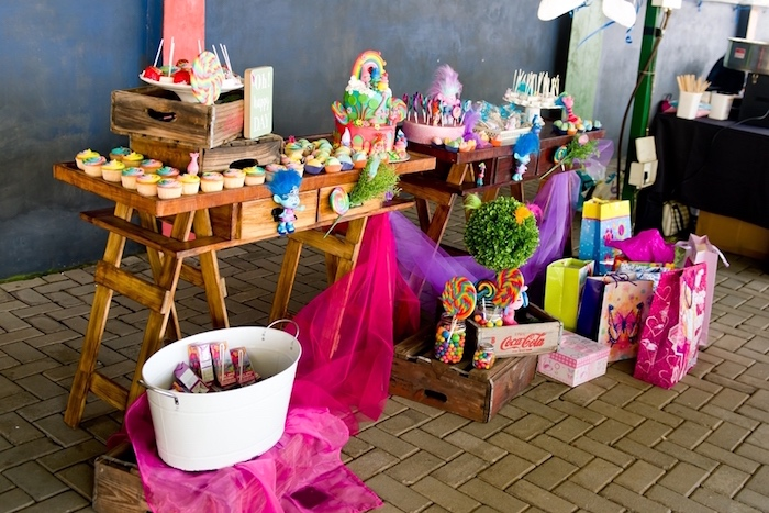 Dessert table from a Trolls Birthday Party on Kara's Party Ideas | KarasPartyIdeas.com (6)
