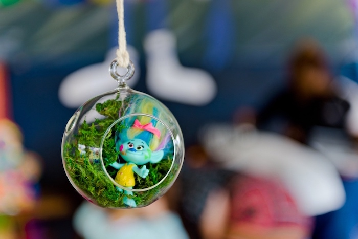 Troll bauble terrarium from a Trolls Birthday Party on Kara's Party Ideas | KarasPartyIdeas.com (20)