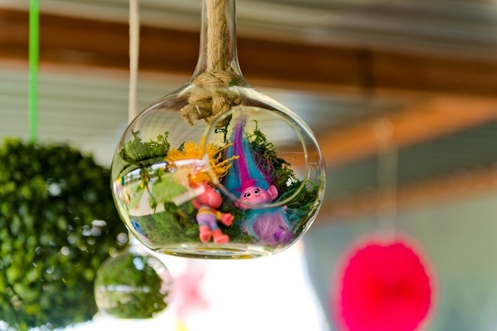 Bauble terrarium from a Trolls Birthday Party on Kara's Party Ideas | KarasPartyIdeas.com (19)