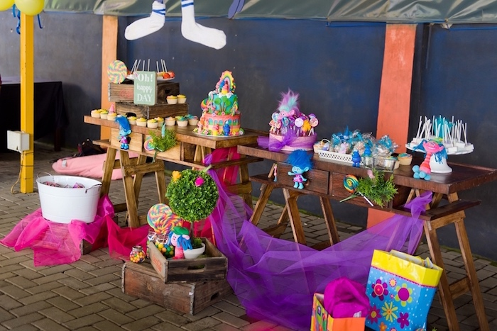 Party tables from a Trolls Birthday Party on Kara's Party Ideas | KarasPartyIdeas.com (15)