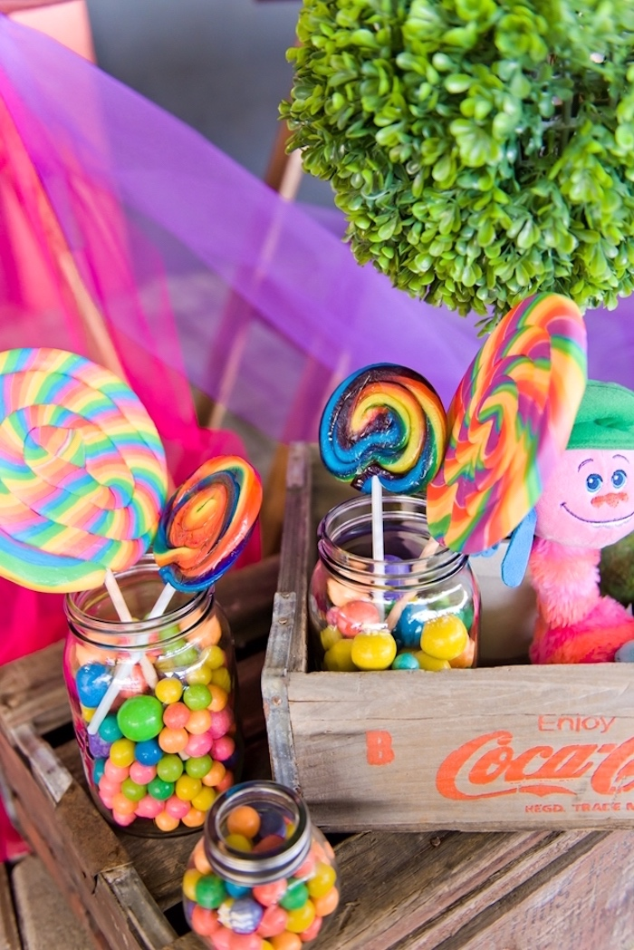 Swirl lollipops and candy from a Trolls Birthday Party on Kara's Party Ideas | KarasPartyIdeas.com (13)