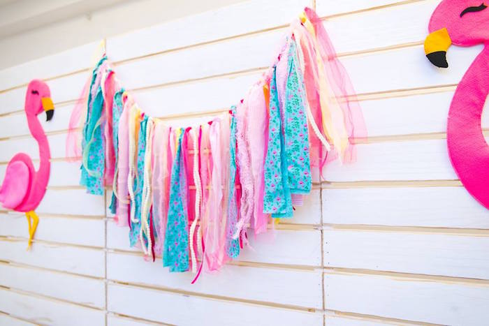 Fabric strip tassel garland from a Tropical Flamingo Birthday Party on Kara's Party Ideas | KarasPartyIdeas.com (21)