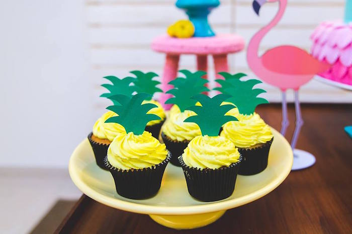 Pineapple cupcakes from a Tropical Flamingo Birthday Party on Kara's Party Ideas | KarasPartyIdeas.com (20)