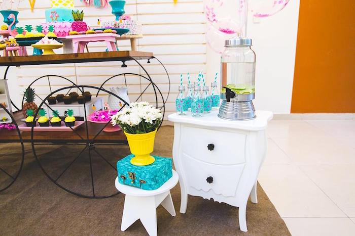 Beverage table from a Tropical Flamingo Birthday Party on Kara's Party Ideas | KarasPartyIdeas.com (15)
